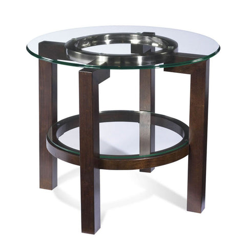 Bassett T1705-220 Oslo Round Glass Top End Table