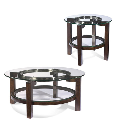 Bassett T1705 Oslo Round 2 Piece Glass Top Coffee Table Set