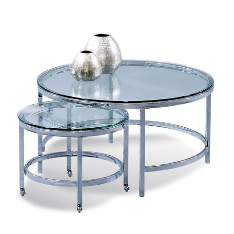 Bassett T1792-120C Patinoire Round Cocktailw/ Nesting Table