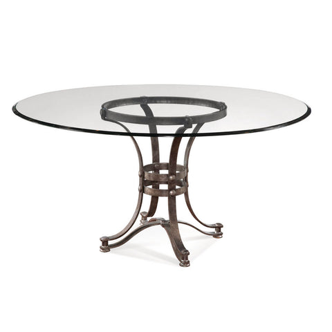 Bassett Tempe 60 Inch Round Glass Dining Table w/ Metal Base