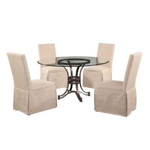 Bassett Tempe Round Glass 5 Piece Dining Set w/ Edison Skirted Parsons Chairs