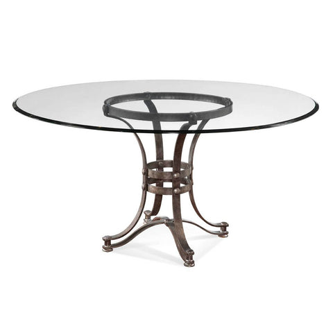 Bassett Tempe Round Glass Dining Table w/ Metal Base
