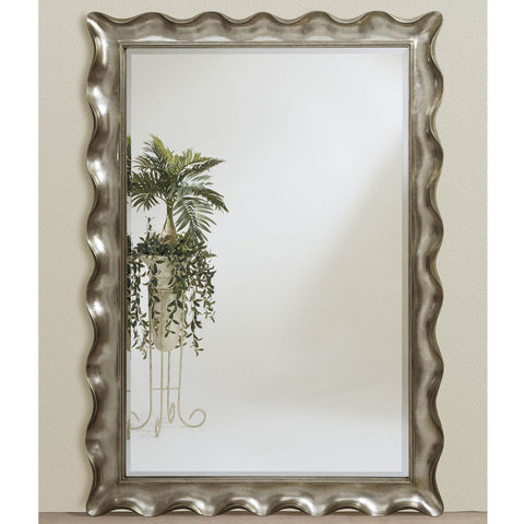 Bassett Transitions Pie Crust Leaner Mirror in Silver Leaf