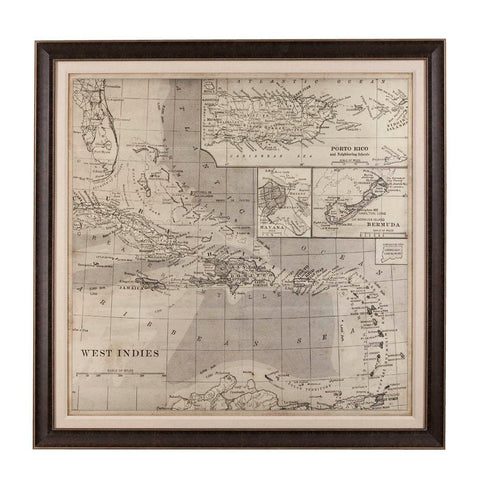 Bassett Vintage Map of Caribbean