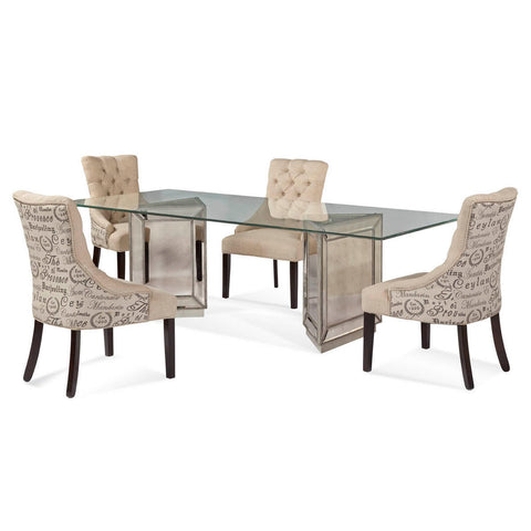 Bassett Murano Rectangular 5 Piece Dining Set w/ Natural Linen Parson Chairs