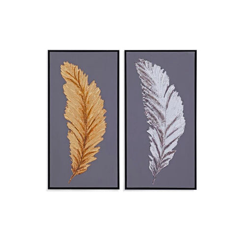 Bassett Silver and Gold Feathers (S/2) Canvas Art