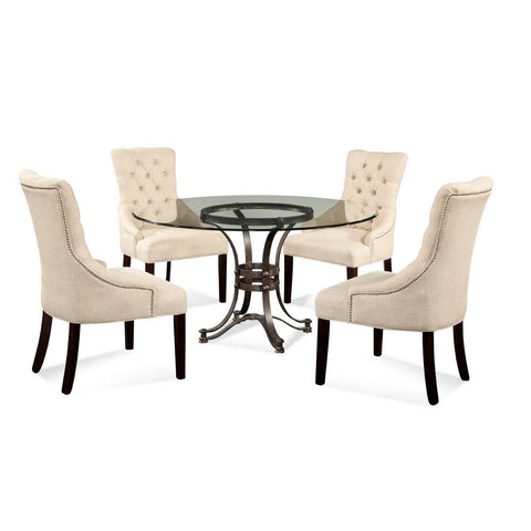 Bassett Tempe Round Glass 5 Piece Dining Set w/ Natural Linen Parson Chairs