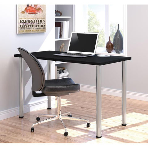 "Bestar 24"" X 48"" Table With Round Metal Legs In Black"