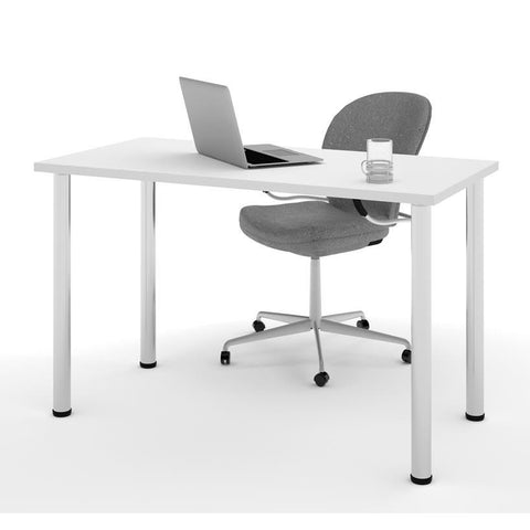 "Bestar 24"" X 48"" Table With Round Metal Legs In White"