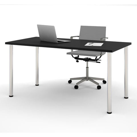 "Bestar 30"" X 60"" Table With Round Metal Legs In Black"