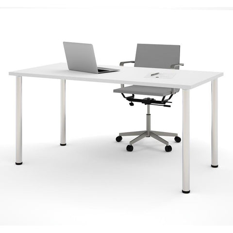 "Bestar 30"" X 60"" Table With Round Metal Legs In White"