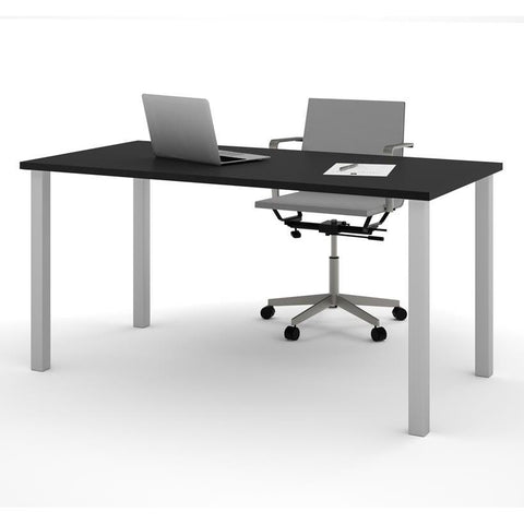 "Bestar 30"" X 60"" Table With Square Metal Legs In Black"