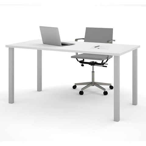 "Bestar 30"" X 60"" Table With Square Metal Legs In White"