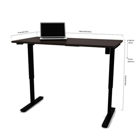 Bestar 30 Inch x 60 Inch Electric Height Adjustable Table in Bark Gray