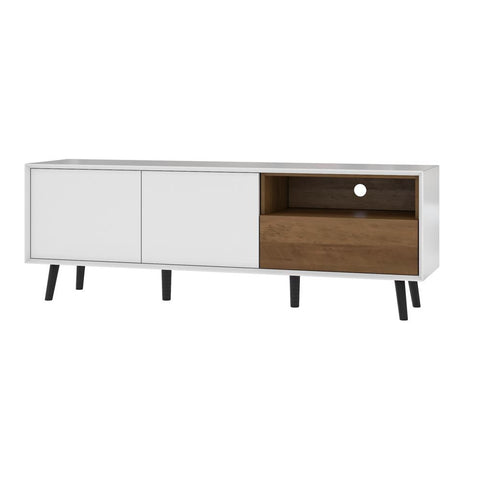 Bestar Alga 63W TV Stand in white & walnut brown