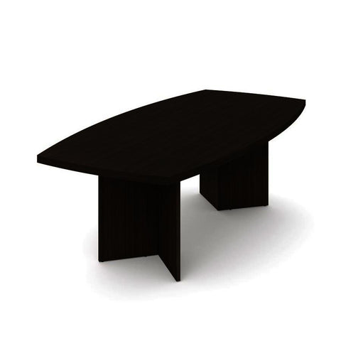 Bestar Boat-Shaped Conference Table w/Melamine Top in Dark Chocolate