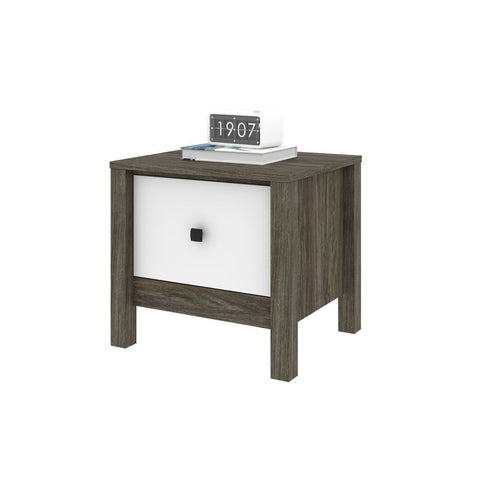 Bestar Capella 22W Nightstand in walnut grey & white