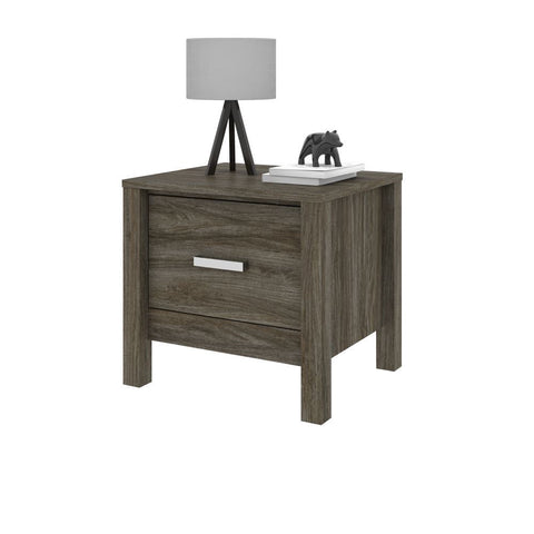 Bestar Capella 22W Nightstand in walnut grey