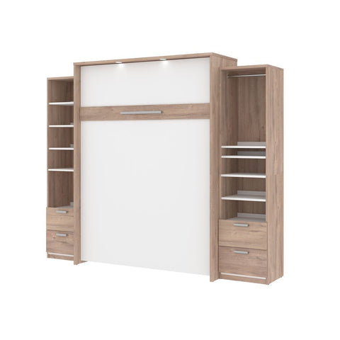 Bestar Cielo 105W Queen Murphy Bed and 2 Storage Cabinets with Drawers (104W) in rustic brown & white