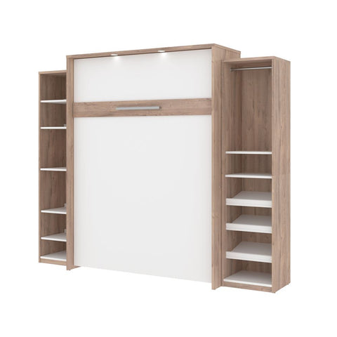 Bestar Cielo 105W Queen Murphy Bed with 2 Storage Cabinets (104W) in rustic brown & white