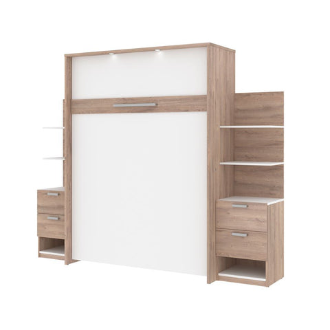 Bestar Cielo 105W Queen Murphy Bed with Storage (104W) in rustic brown & white