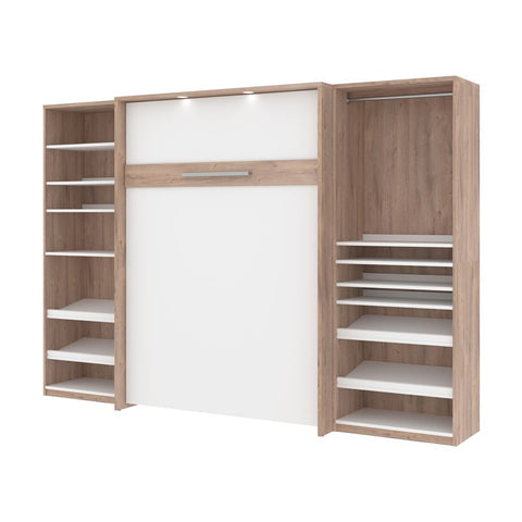 Bestar Cielo 119W Full Murphy Bed with 2 Storage Cabinets (118W) in rustic brown & white