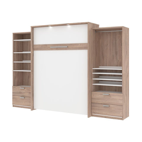 Bestar Cielo 125W Queen Murphy Bed and 2 Storage Cabinets with Drawers (124W) in rustic brown & white