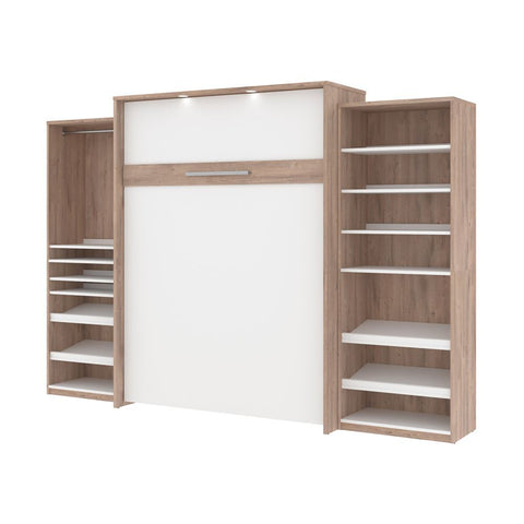 Bestar Cielo 125W Queen Murphy Bed with 2 Storage Cabinets (124W) in rustic brown & white