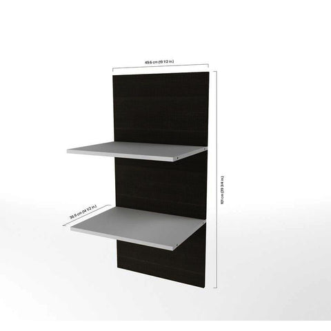 Bestar Cielo 2 Floating Shelves in Bark Gray & White