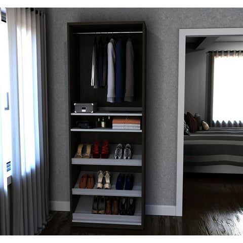 Bestar Cielo 29.5 Inch Shoe/Closet Storage Unit Featuring Reversible Shelves in Bark Gray & White