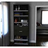 Bestar Cielo 29.5 Inch Shoe/Closet Storage Unit w/Drawers in Bark Gray & White