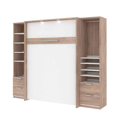 Bestar Cielo 99W Full Murphy Bed and 2 Storage Cabinets with Drawers (98W) in rustic brown & white