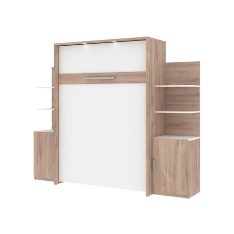 Bestar Cielo 99W Full Murphy Bed and 2 Storage Units with Doors (98W) in rustic brown & white
