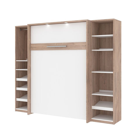 Bestar Cielo 99W Full Murphy Bed with 2 Storage Cabinets (98W) in rustic brown & white