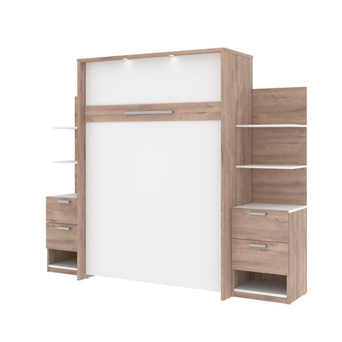 Bestar Cielo 99W Full Murphy Bed with Storage (98W) in rustic brown & white