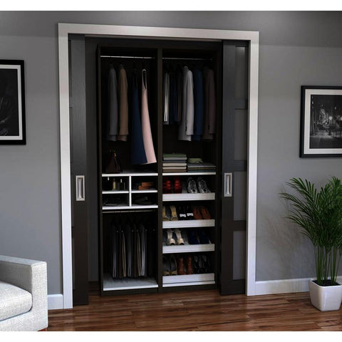 Bestar Cielo Classic 59 Inch Reach-In Closet in Bark Gray & White