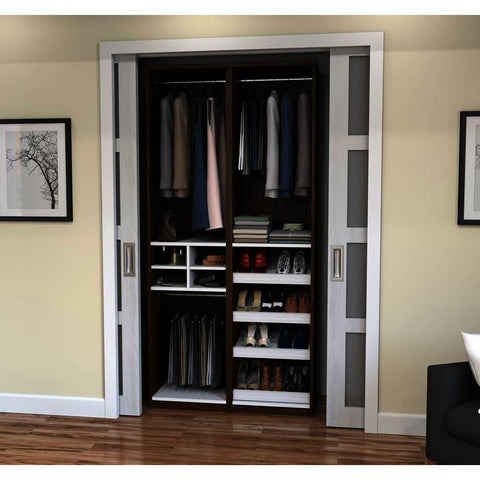 Bestar Cielo Classic 59 Inch Reach-In Closet in Oak Barrel & White