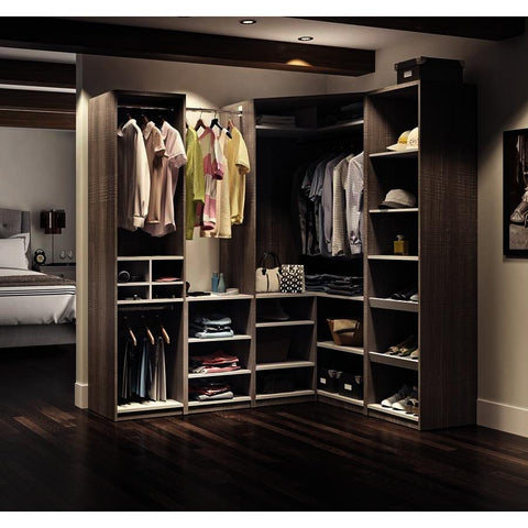 Bestar Cielo Classic Corner Walk-In Closet in Bark Gray & White