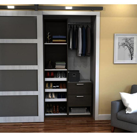 Bestar Cielo Deluxe 39 Inch Reach-In Closet in Bark Gray & White