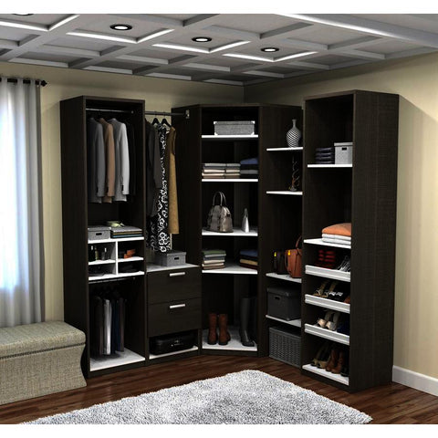 Bestar Cielo Deluxe Corner Walk-In Closet in Bark Gray & White