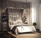 Bestar Cielo Elite 104 Inch Queen Wall Bed Kit in Bark Gray & White