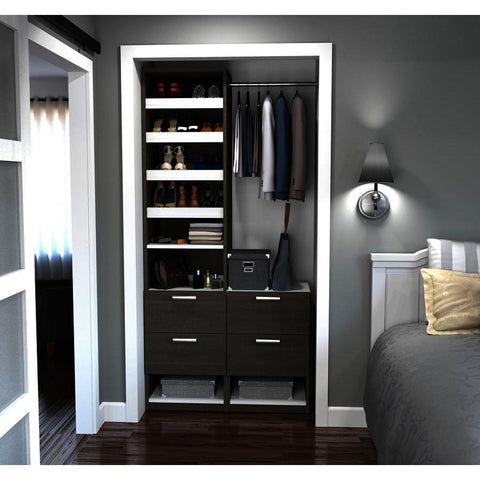 Bestar Cielo Elite 39 Inch Reach-In Closet in Bark Gray & White
