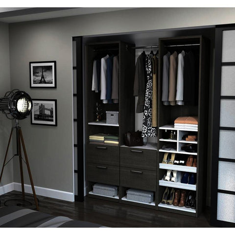 Bestar Cielo Elite 59 Inch Reach-In Closet in Bark Gray & White