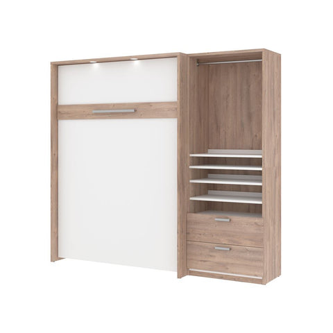 Bestar Cielo Full Murphy Bed with Storage Cabinet (89W) in rustic brown & white