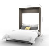 Bestar Cielo Premium 95 Inch Queen Wall Bed Kit in Bark Gray & White