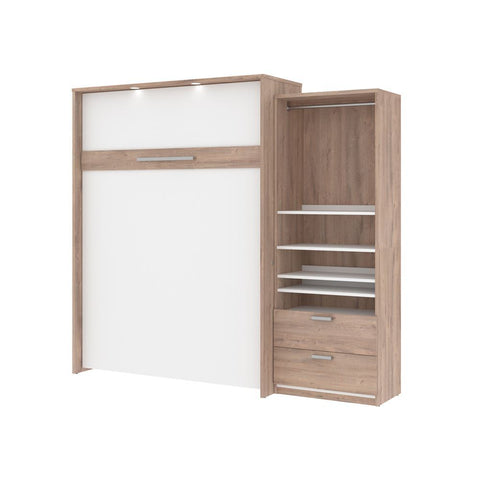 Bestar Cielo Queen Murphy Bed and Storage Cabinet (95W) in rustic brown & white
