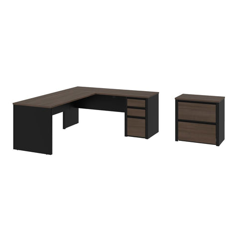 Bestar Connexion 2-Piece set including an L-shaped desk and a lateral file cabinet in antigua & black