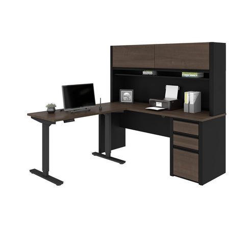 Bestar Connexion 72W 2-Piece set including a standing desk and a desk with hutch in antigua & black
