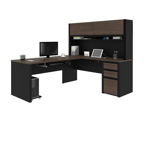 Bestar Connexion 72W L-Shaped Desk with Pedestal and Hutch in antigua & black