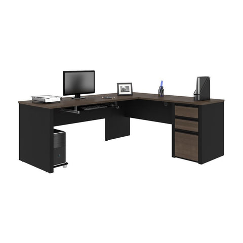 Bestar Connexion 72W L-Shaped Desk with Pedestal in antigua & black
